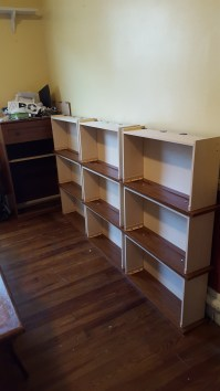 Total of three sets of shelves
