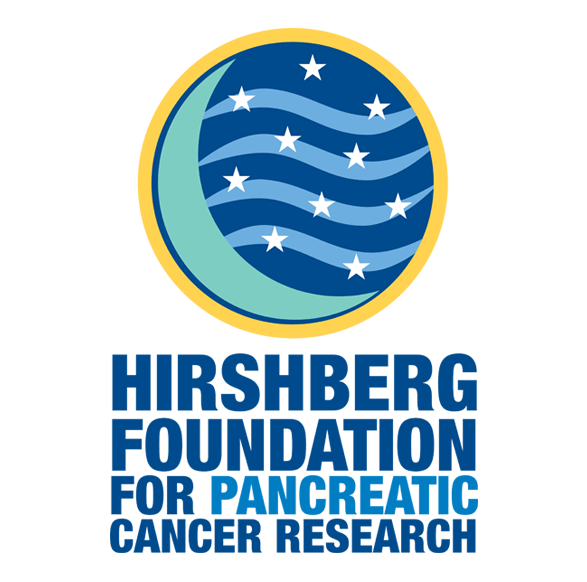 Hirschberg Foundation logo in medium and light blue, yellow and white