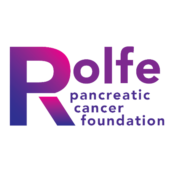 Rolfe Foundation logo in blue, fuschia, and purple
