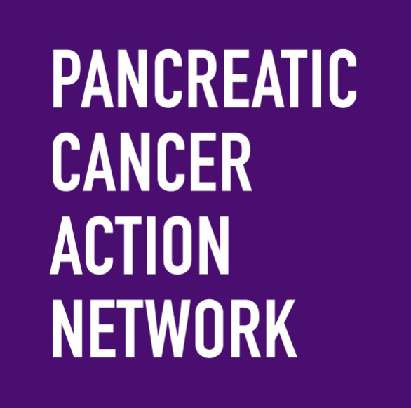 Pancreatic Cancer Action Network logo with white text on a purple background