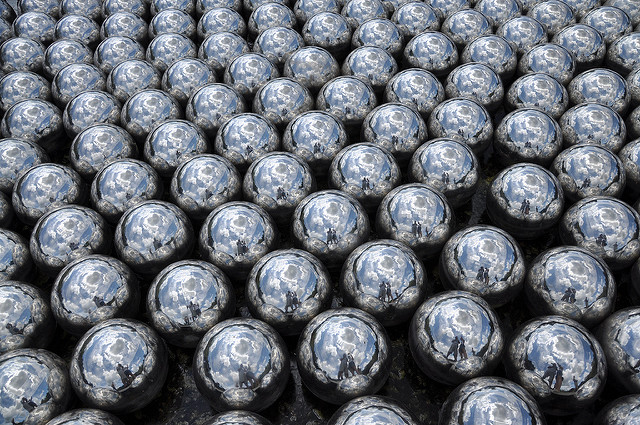 Abstract photo of many silver balls packed together