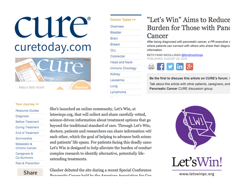 Collage Of Cure Logo, Article Text, And Let's Win Logo