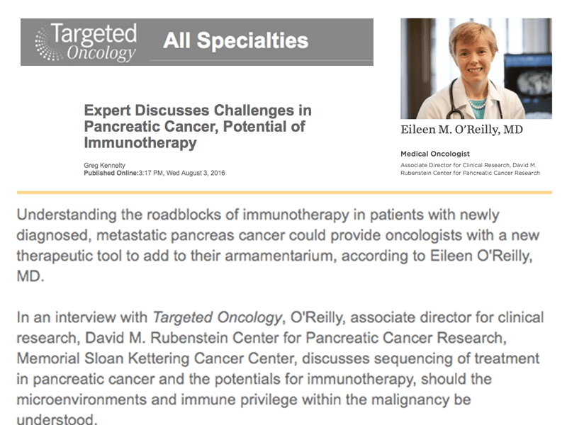 Collage Of Article Page In Targeted Oncology And A Photo Of Dr. Eileen O'Reilly