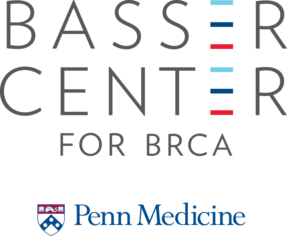 Logo for the Basser Center for BRCA in gray, aqua, blue, and red, with the Penn Medicine logo below in blue, red, and white