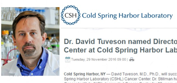 Collage of Dr. David Tuveson photo, Cold Spring Harbor Laboratory logo, and announcement text
