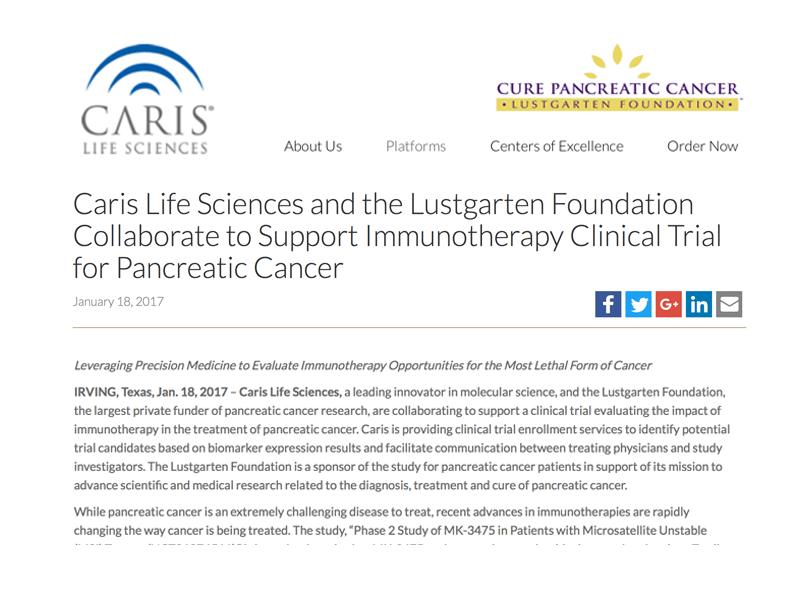 Collage image of the Caris Life Sciences logo in blue and gray, the Lustgarten Foundation logo in purple and yellow, and the text of the press release