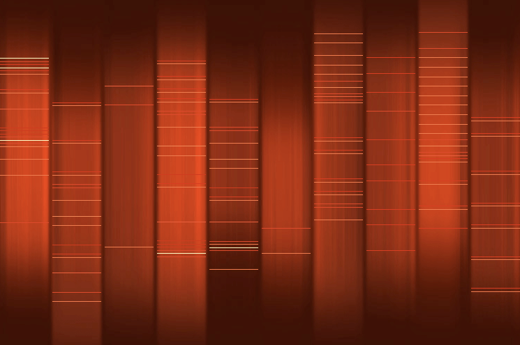 Image of DNA analysis showing a series of darker and lighter orange-colored columns with thin horizontal red, yellow, white, and orange stripes indicating different genes