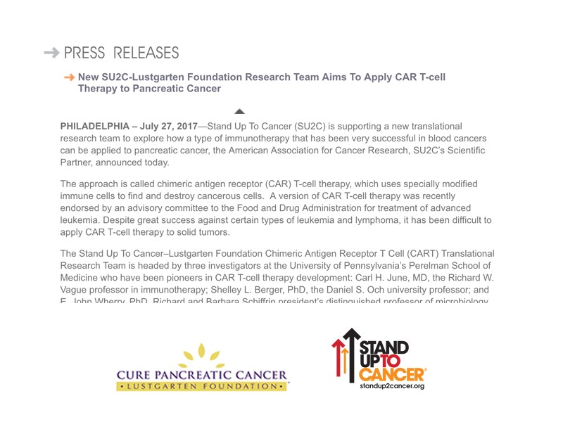 Collage Of Faded Text From Press Release With Lustgarten Foundation And Stand Up To Cancer Logos Below