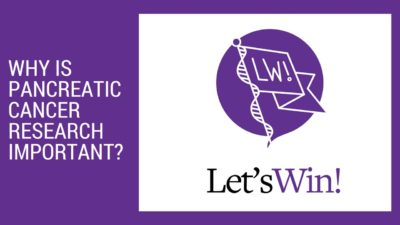 Image Of Title Card For Facebook Live Why Is Pancreatic Cancer Research Important? Event And The Let's Win Logo, In Purple And Black And White