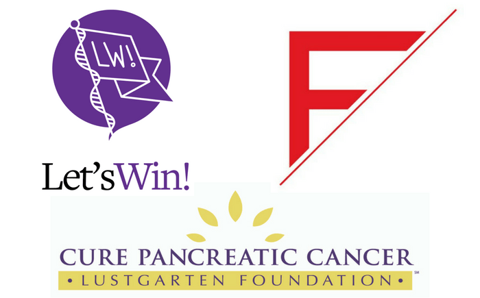 Logos for Let's Win (purple with purple and black lettering), Finn Partners (red F and a diagonal line), Lustgarten Foundation (purple lettering, yellow bar and yellow petals in a semicircle)