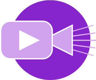 Videos icon showing an illustration of a movie projector with a play arrow and light rays coming from the lens, in a bright purple circle