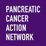Pancreatic Cancer Action Network logo of white letters on a purple background