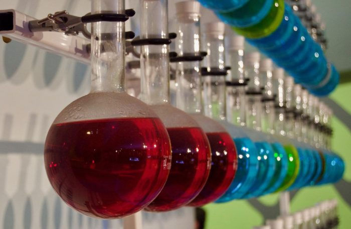 a rack of beakers with red, blue, and green liquids
