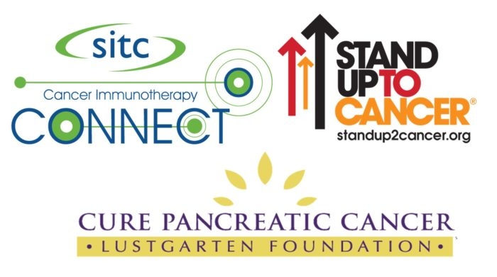 The logos of sitc Cancer Immunotherapy Connect (blue and green), Stand Up To Cancer (black, red, orange text and arrows pointing up), Lustgarten Foundation Cure Pancreatic Cancer (purple letters with a yellow bar behind Lustgarten Foundation, and five yellow almond shapes in a semi circle above the lettering)