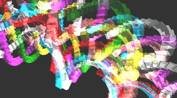 multicolor abstract computer created image of series of squares that look like a DNA helix