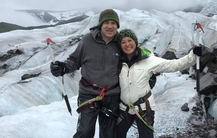 Pancreatic cancer patient Tom Bajoras and his wife Lisa on a glacier