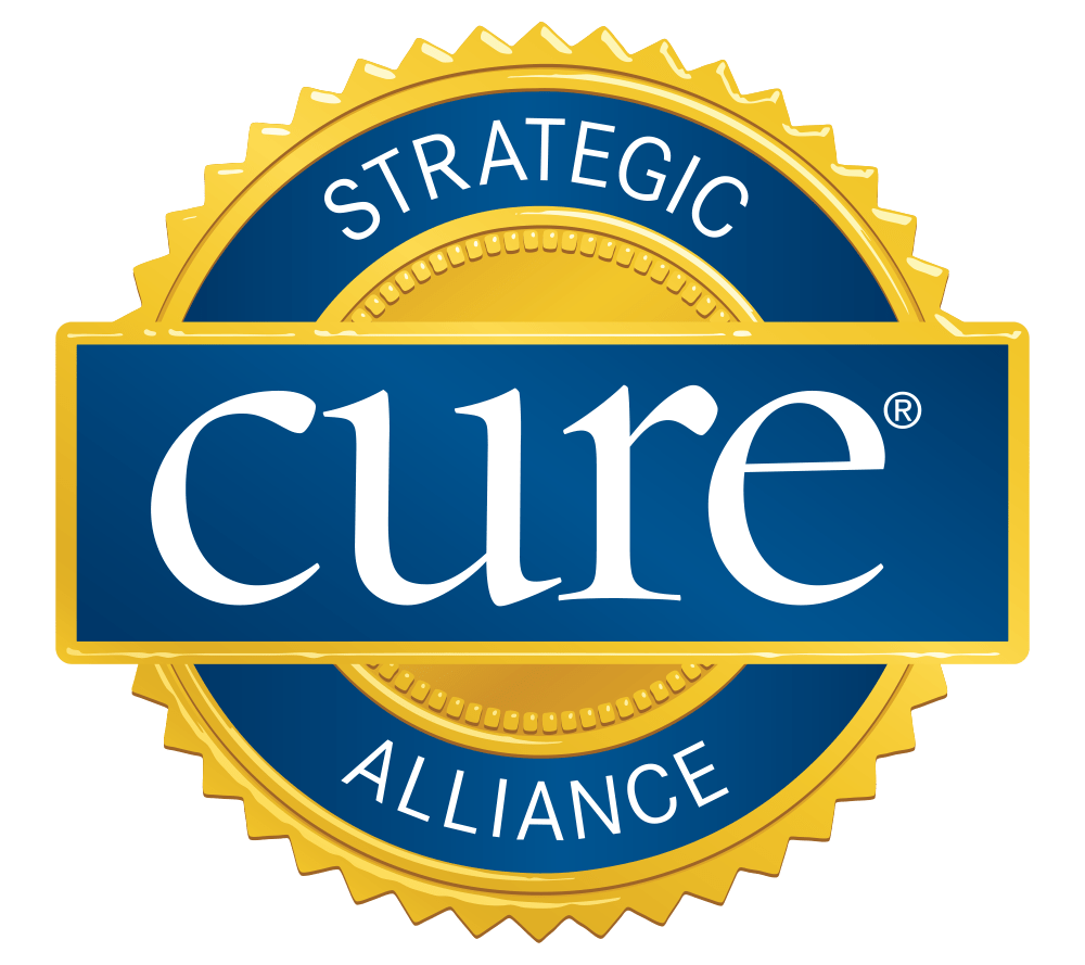 cure logo and seal in blue, gold and white