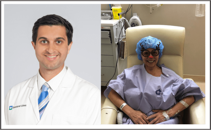 Dr. Suneel Kamath and pancreatic cancer patient Sandy Robis