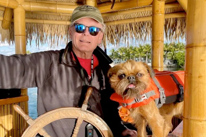 Pancreatic cancer patient Tom Stachler and his dog Chewie