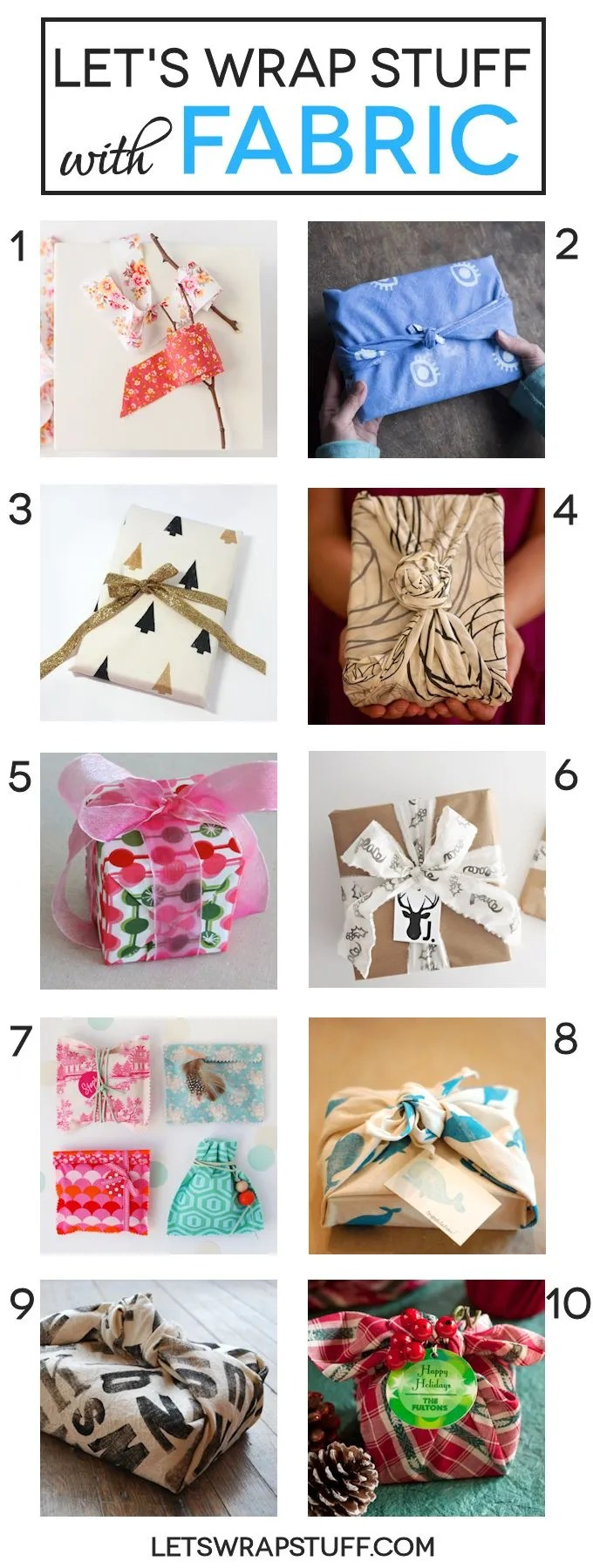 10 Fabric  Gift Wrap Ideas and tutorials