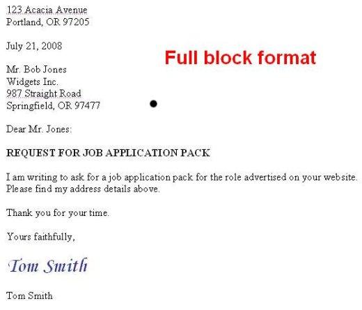 Job Application Letter In Full Block Format