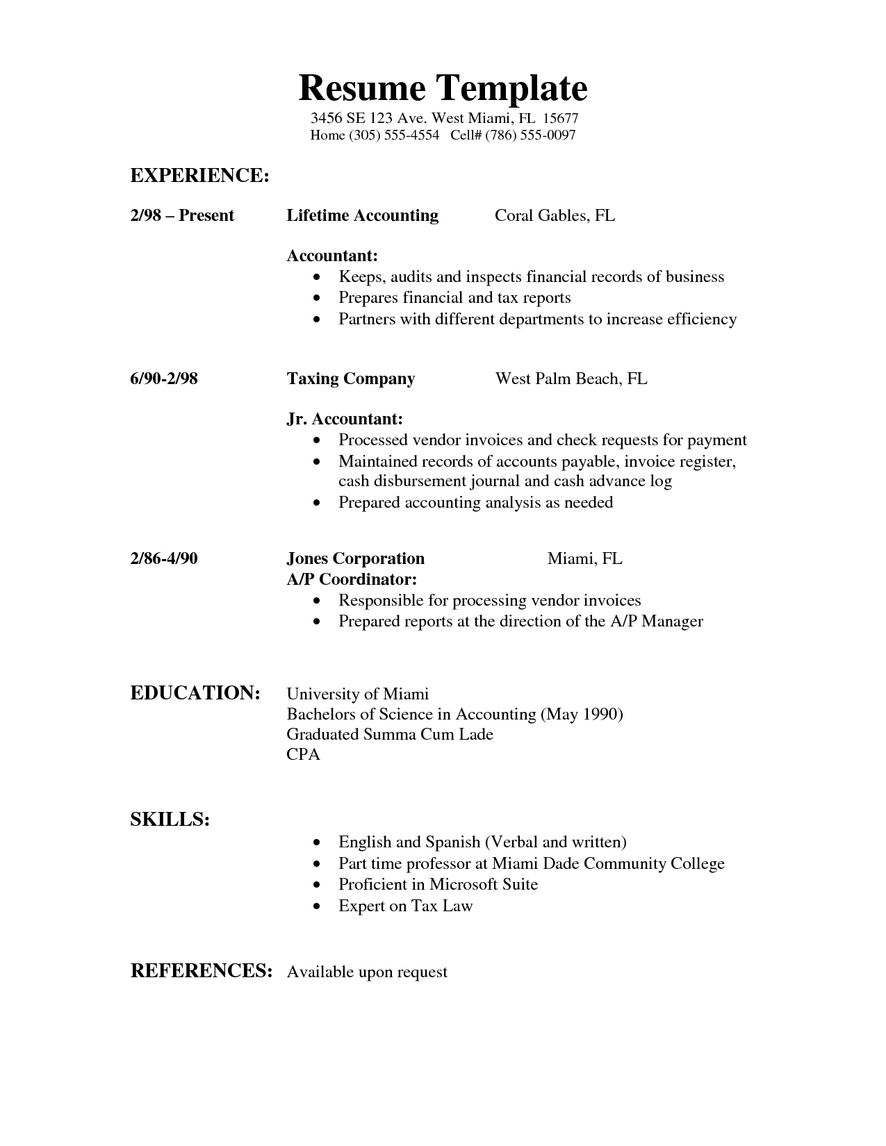Examples Of Simple Resumes Template