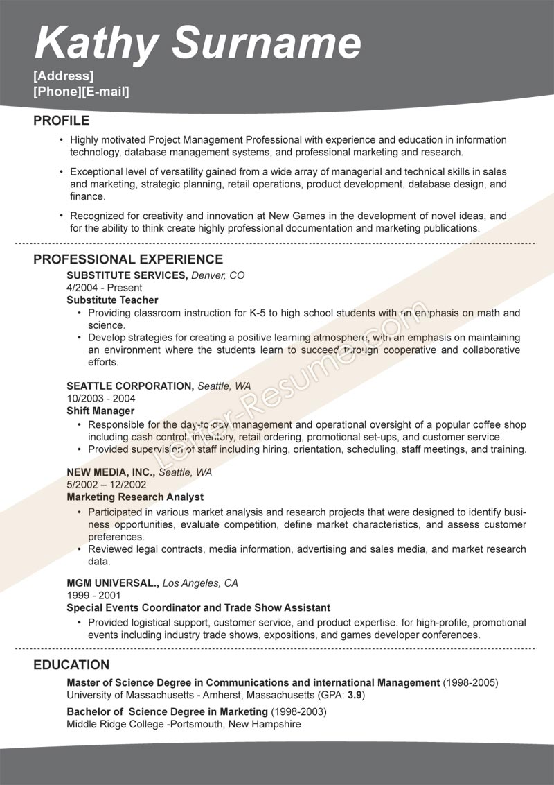 Resume Examples 2012 Examples Of Resumes