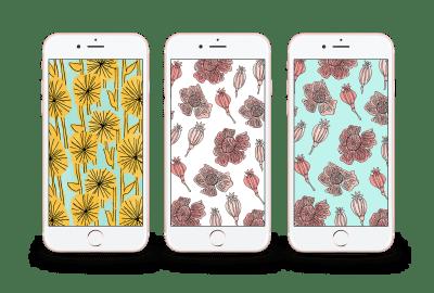 mockups of floral iphone lockscreens