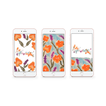 Mockups of lockscreens with watercolor poppies and be optimistic lettering