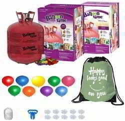 Balloon Time Disposable Helium Tank 14.9 (2 Boxes) - 100 Latex Party Balloons – Plus Drawstring Backpack Bag and Flower Clips