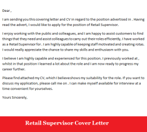 Retail Supervisor Job Application Cover Letter Sample
