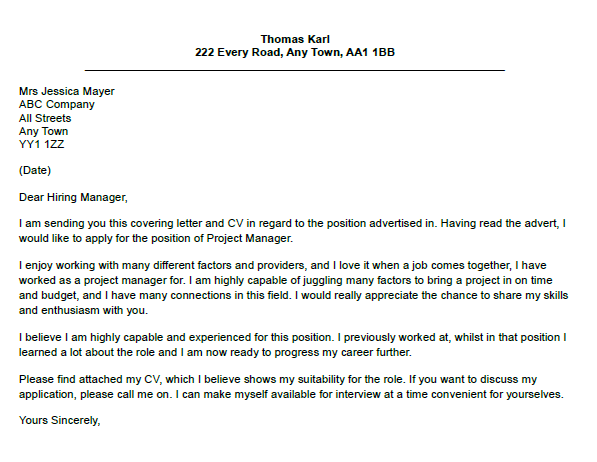 Project Manager Cover Letter Example  lettercvcom
