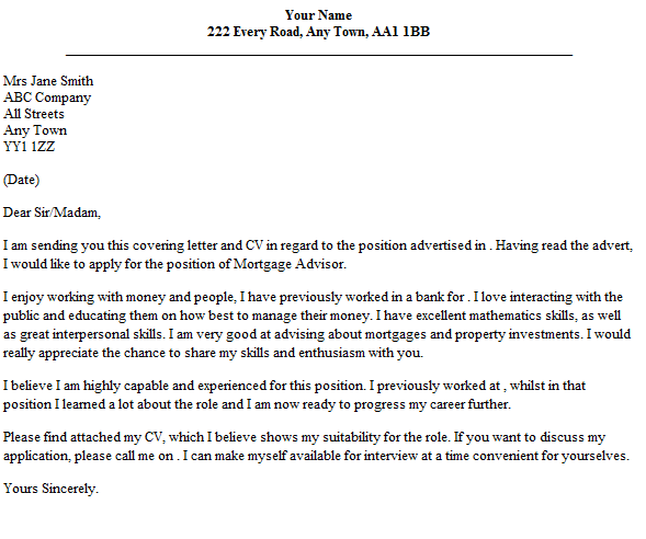 Mortgage Advisor Cover Letter Example Lettercv Com