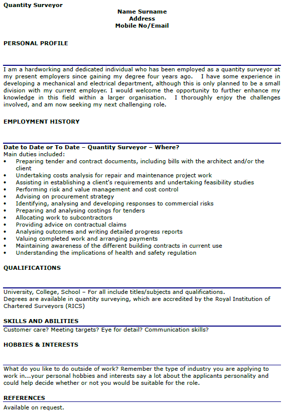 Quantity Surveyor CV Example Lettercv Com