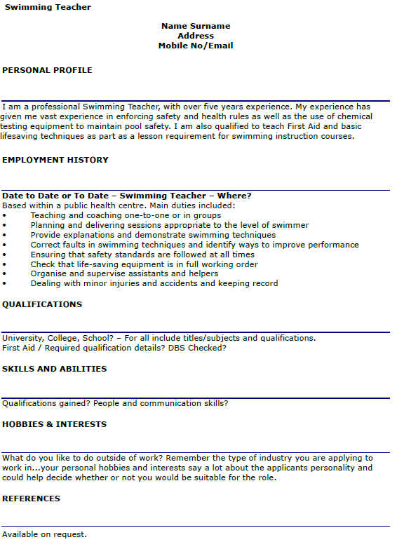 Swimming Teacher CV Example Lettercv Com