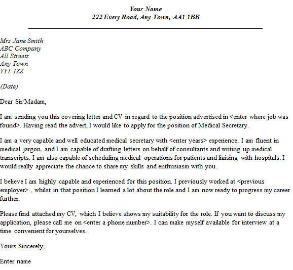 Medical Secretary Cover Letter Example Lettercv Com