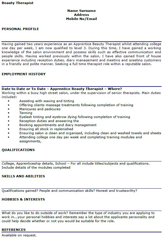 Beauty Therapist CV Example Lettercv Com