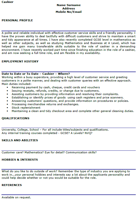 Cover letter cashier job for Cover letter examples for cashier position