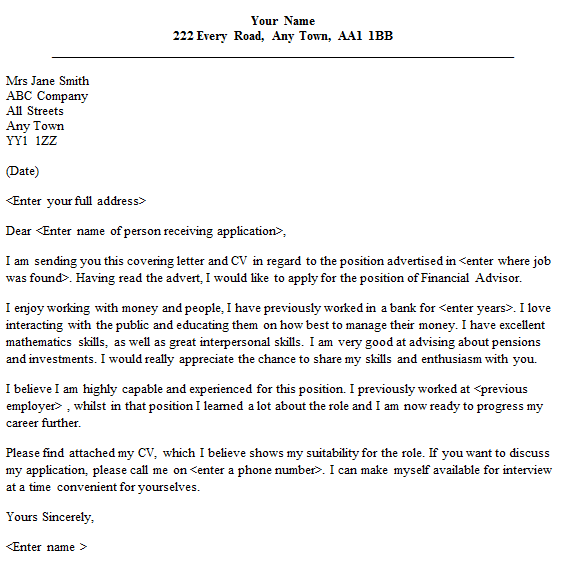 Financial Advisor Cover Letter Sample Lettercv Com