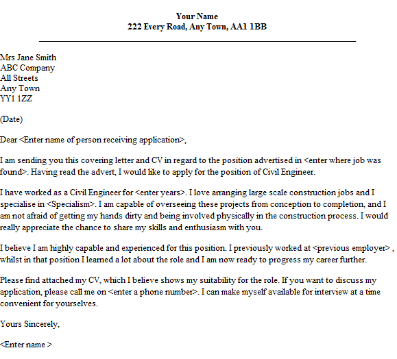 Civil Engineer Cover Letter Sample Lettercv Com