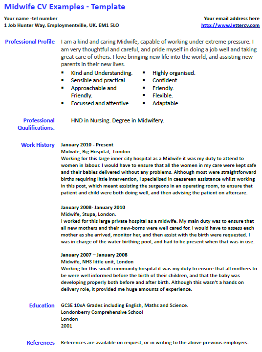 Midwife CV Example and Template  lettercvcom
