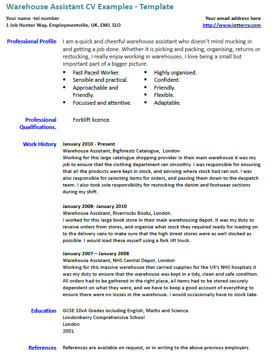 Warehouse Assistant CV Example Lettercv Com