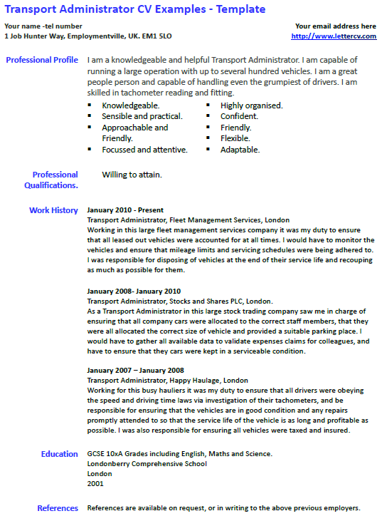 Transport Administrator CV Example and Template  lettercvcom