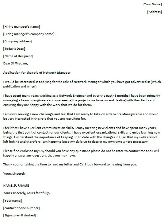 Network Manager Cover Letter Example  lettercvcom