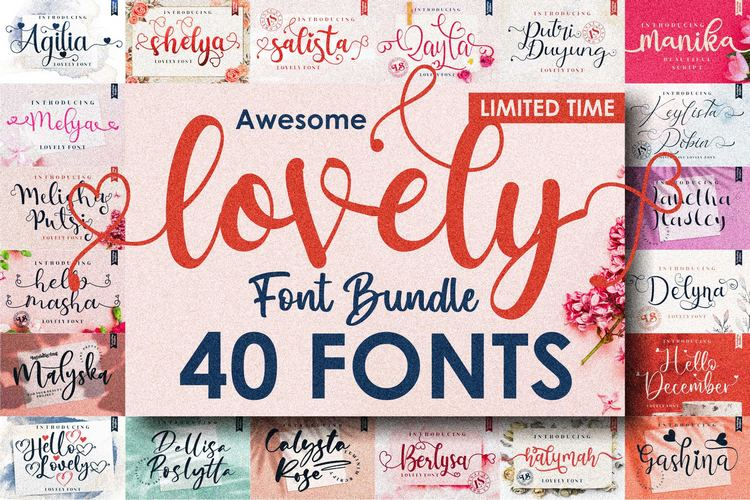 Preview image of Awesome Lovely Font Bundle (VALENTINE EDITIONS)