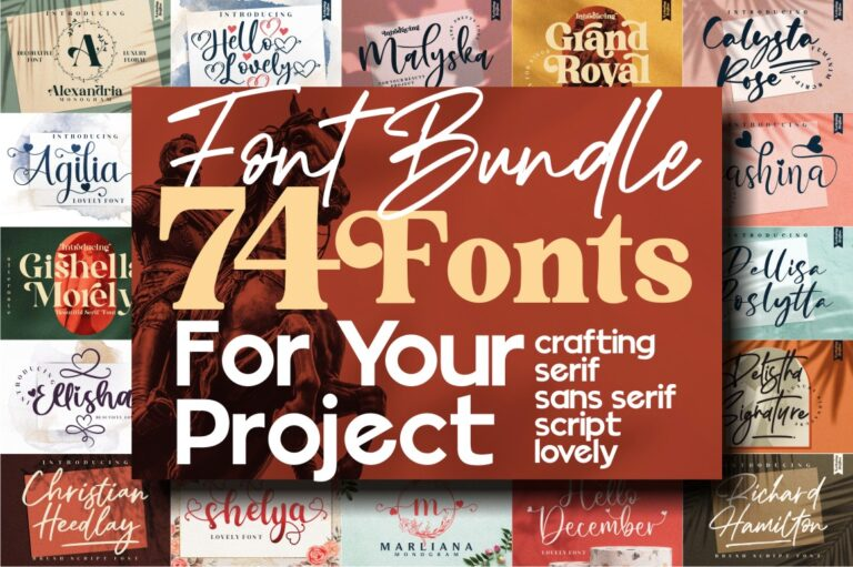 Preview image of The Massive Font 74 Fonts ALL STYLE, Special Edition !!!