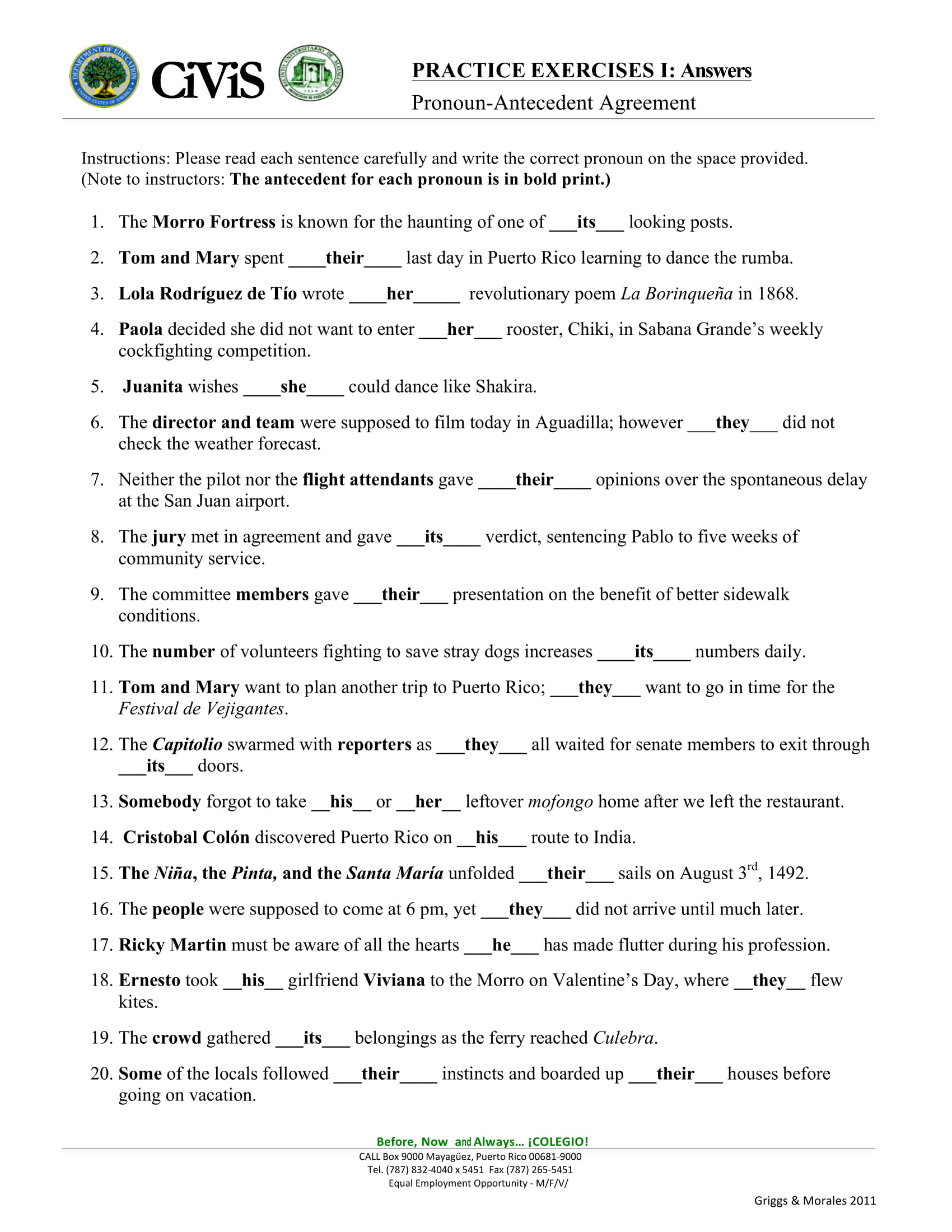 Pronoun Antecedent Agreement Worksheets 9 Pronoun