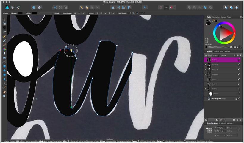 lettering vektorisieren affinity designer screenshoot