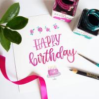 happy birthday // hand lettering // Workshop Beispiel
