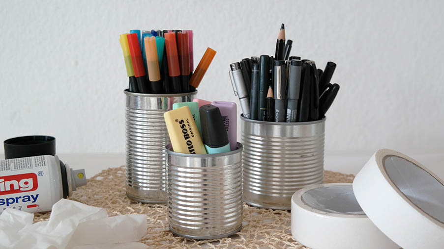 DIY Stiftebecher aus Konservendosen vorher